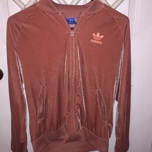 velvet pink adidas track jacket